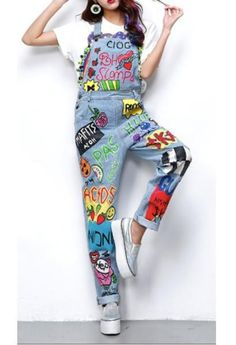 Cartoon drawings Denim Overalls-Alessio Eno-JetSet – My CMS Diy Jeans, Jeans Fit, Jeans Style, Painted Jeans, Painted Clothes, Diy Clothing, Custom Clothes, Clothing Accessories, Jeans Overall