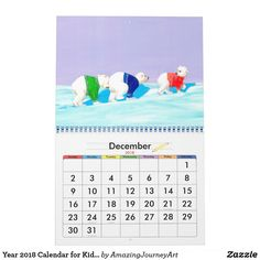 Year 2018 Calendar for Kids Christmas And New Year, All Things Christmas, New Years Tree, Kids Calendar, Young At Heart, Frame It, Art Posters, Personalized Products, Amazing Art