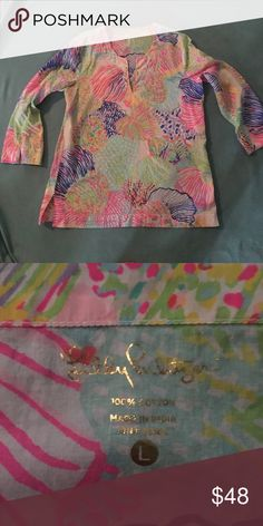 Lilly Pulitzer Amelia Island tunic top Shells with lots of fun colors. EUC. Only worn once. Lilly Pulitzer Tops Tunics