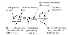 Wave equation for electrical field Physics 101, Physics Formulas, Physics Notes, Physics Experiments, Engineering Science, Physical Science, Electrical Engineering, Theoretical Physics, Physics And Mathematics