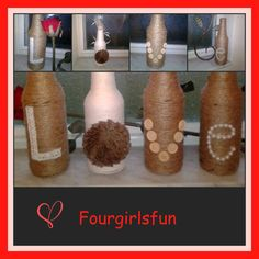 Mini Love Bottles Table Centerpiece Twine and Yarn by Fourgirlsfun #craftshout0306