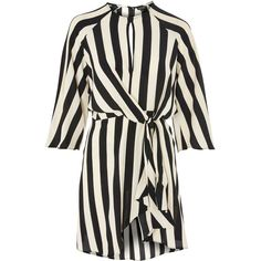 Topshop Petite Stripe Knot Front Dress ($60) ❤ liked on Polyvore featuring dresses, topshop, monochrome, striped shift dress, short dresses, striped mini dress, mini party dresses and keyhole dress