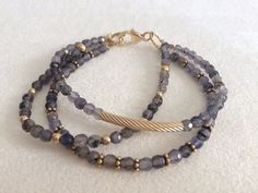Triple Strand Labrodite Gold Bar Bracelet by CathySharpStyle