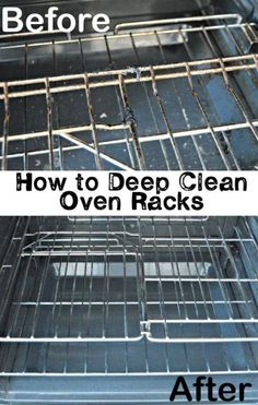 cleaning oven Oven racks are no fun to clean, with caked on grease stains and crusted oils. This trick gets the oven racks ridiculously clean with little effort! With the holidays approaching, and more uses for the oven, youll want to these super clean! Household Cleaning Tips, Deep Cleaning Tips, House Cleaning Tips, Natural Cleaning Products, Spring Cleaning, Cleaning Lists, Cleaning Schedules, Floor Cleaning, Speed Cleaning