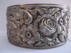 Rare Deco Kirk Stieff Sterling Silver ROSE REPOUSSE Cuff Bracelet 1930's to 1940's Creation / 1892 Pattern