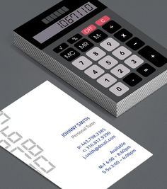 Retro Calculator: Business Cards for accountants, bookkeepers, mathematicians, maths tutors should reference something to do with numbers – so a calculator fits the bill perfectly. #moocards #luxebymoo #businesscard
