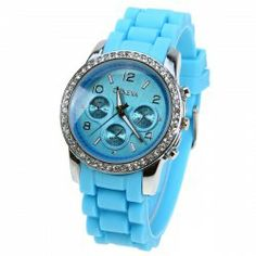$5.45 Geneva Quartz Watch with Strips and Numbers Indicate Dial Rubber Watch Band for Women (Blue)