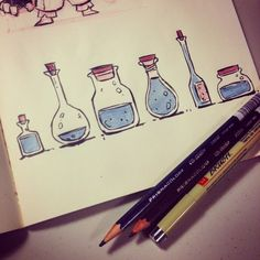 Sketching some random bottles just because. #sketchbook #sketch #ink by dereklaufman