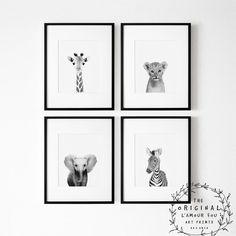 Safari kwekerij prints set van 4 prints kinderdagverblijf | Etsy Safari Nursery, Woodland Nursery Decor, Nursery Prints, Nursery Wall Art, Nursery Ideas, Black White Nursery, Safari Animals, Printable Wall Art