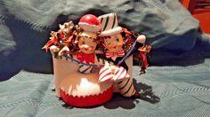 Vintage RELPO Christmas Couple Holding Bells Planter #311