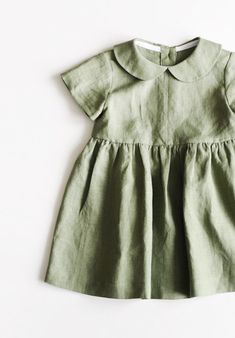Handmade vintage style sage green linen baby toddler dress tsiomikkids on etsy Cute Little Girls Outfits, Teenage Outfits, Little Girl Fashion, Toddler Fashion, Baby Outfits, Fashion Kids, Toddler Outfits, Kids Outfits, Vintage Kids Fashion