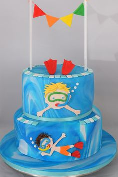 #Pool Party Cake,  #Children's Pool Party Cake