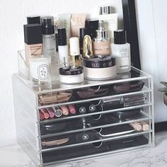 Clear Acrylic Makeup Organizer, Arranges Makeup Brushes and Cosmetics, 2 Piece Storage Display Holder, by AcryliCase® Make Up Organizer, Make Up Storage, Storage Hacks, Storage Room, Storage Drawers, Storage Ideas, Skin Makeup, Makeup Brushes, Beauty Makeup