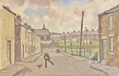 Street scene; man with dog by Norman Cornish