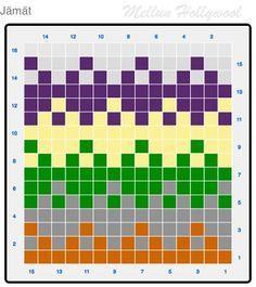 Mellun Hollywool: Uusi kuvio jämälangoille Loom Knitting Stitches, Knitting Charts, Knitting Socks, Free Knitting, Stitch Patterns, Knitting Patterns, Crochet Patterns, Fair Isle Chart, Chart Design