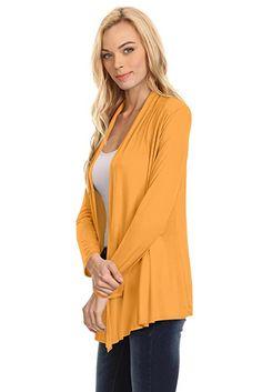 $10.62  Womens Open Drape Cardigan Reg and Plus Size Cardigan Sweater Long Sleeves - USA at Amazon Women's Clothing store: