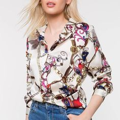 Casual Chains Printed Colour Long Sleeve Blouse Brand Name Wakasia SKU Gender Women Style Casual/Elegant/Modern Type Blouse Material Polyester Fiber Decoration Printed Colour Shirts & Tops, Shirt Blouses, Casual Shirts, Polo Shirts, Casual Tops, White Chiffon Blouse, Polo Shirt Women, Long Blouse, Blouse Styles