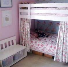 "Ikea bunk bed, painted white, curtains added for ""tent appeal"" to lower bunk. Pine Bunk Beds, Bunk Beds With Stairs, Cool Bunk Beds, Kid Beds, Kura Ikea, Ikea Bunk Bed, Bunk Bed Curtains, White Curtains, Shared Rooms"
