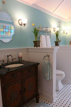 bathroom pony wall ideas - Google Search