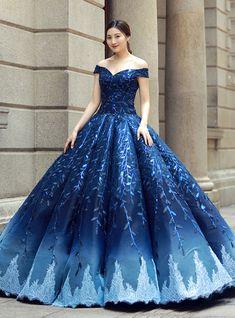 Silhouette:ball gown Hemline:floor length Neckline:off the shoulder Fabric:seati. Silhouette:ball gown Hemline:floor length Neckline:off the shoulder Fabric:seatin Sleeve Style:sleeveless Color:blue Bac. Blue Ball Gowns, Ball Gowns Prom, Ball Gown Dresses, Evening Dresses, 15 Dresses, Blue Gown Dress, Royal Ball Gowns, Royal Blue Gown, Navy Blue Gown