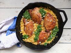 Chicken Thighs with Orzo and Wild Garlic Pesto