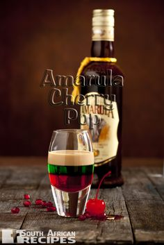 Amarula Cherry Pop with bottle (LR) Easy Cocktails, Cocktail Drinks, Alcoholic Drinks, Beverages, South African Dishes, South African Recipes, Orange Creamsicle, Christmas In South Africa, Adele