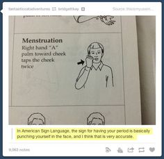 In American sign language, the sign for menstruation is basically punching yourself in the face.