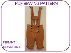 Computer drafted PDF sewing pattern. Lederhosen 3 sizes