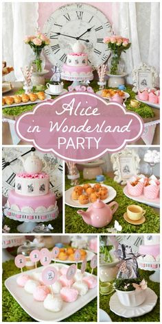 Stunning Alice in Wonderland girl birthday party with a dessert table, teapots, and a lovely clock. This theme would also make a fabulous baby shower! Fiesta Baby Shower, Tea Party Baby Shower, Baby Party, Baby Shower Themes, Shower Ideas, Girl Babyshower Themes, Party Deco, Party Mottos, Alice Tea Party