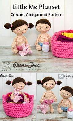 The sweet Little Me Playset is made up of crocheted amigurumi dolls and props that should give your little ones hours of fun. You can create your own Little Me Playset with this downloadable pattern. #crochet #amigurumi #ad #baby #cradle #bottle #lovey #crochetdoll #amigurumidoll #amigurumipattern #instantdownload
