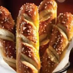 I must get over to Chilis to try these Jumbo Soft Pretzels: Four sticks sprinkled with OOMPH and served with our epically awesome cheese dipping sauce. My stomach is growling with anticipation! Pretzel Bread, Pretzel Dogs, Frozen Bread Dough, Bread Dough Recipe, Baking Soda Water, Football Snacks, Soft Pretzels, Secret Recipe, The Fresh