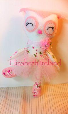 7-inch Soft Wool Felt Balla Owl pink by theStudioGiftShop on Etsy