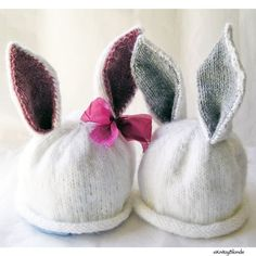 This custom Bunny hat will be hand knit for your baby, and is perfect for his or her Easter photos! This hat makes the best photo prop. The hat is hand knit in a fuzzy yarn that makes it seem like a furry, soft bunny rabbit, with your choice of gray ears (boy) or pink ears and a bow (girl). The ears can be worn up or down like a lopped eared bunny.  $35.00