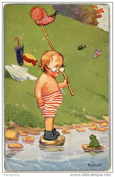 Child fishing in a creek and a frog old postcard travelled 192?