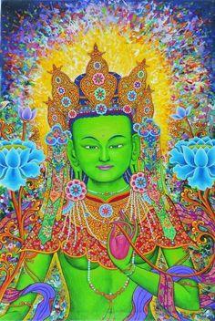 Green Tara - Mother of Karma & Compassion Om Tara Tu Tara Ture Svaha Buddhist Wisdom, Buddhist Art, Tibetan Art, Tibetan Buddhism, Tara Verde, Sacred Feminine, Meditation Music, Psychedelic Art, Gods And Goddesses