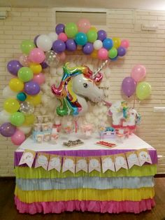first birthday high chair Unicorn Birthday Decorations, Unicorn Themed Birthday Party, Unicorn Birthday Parties, First Birthday Parties, Birthday Party Themes, Rainbow Unicorn Party, Rainbow Birthday, Pony Party, Living At Home