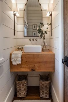 I love this collection of farmhouse bathrooms. The wood slab sink and shiplap are beautiful. These bathrooms are stunning. The perfect touch of farmhouse and rustic. #neutralhome #neutralbathroom #shiplaphome #shiplapbathroom #fixerupperstyle #fixerupper #joannagainesinspired #joannagaines #rusticbathroom #farmhousebathroom #afflink #rustichome