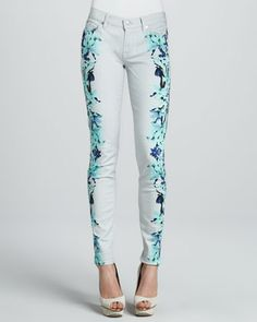 Floral-Print Skinny Jeans by 7 For All Mankind at Bergdorf Goodman.