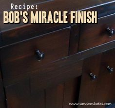 """Looking for great wood finish ideas? This tutorial shows how to make an easy DIY three ingredient wipe on top coat finish. Here's a tip... it's a """"can't mess it up"""" top coat that provides a worry-free flawless finish!"""