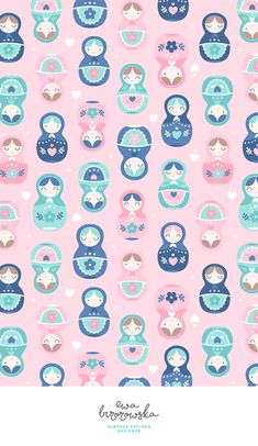 Matrioshka - textile surface pattern design with matryoshka motif. Computer Wallpaper, Screen Wallpaper, Iphone Wallpaper, Kawaii Wallpaper, Flower Wallpaper, Paper Background, Background Patterns, Textures Patterns, Print Patterns