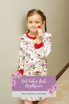 Knit Fabric Girls Knightgown FREE sewing pattern. This easy to pull-on nightdress is made from knit fabric. By using a knit with loads of stretch, its comfy feel plus the soft neck and cuffs are ideal for sleep time. To a very pretty main fabric, the designer added a red rib-knit from her stash which gives an ideal trim to the neck and fold-over cuffs. The designer also says - technically this could also double as a flowy day dress. Sewing Patterns For Kids, Dress Sewing Patterns, Sewing For Kids, Free Sewing, Free Pattern Download, Free Girl, Baby Dress, Rib Knit, Cuffs