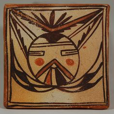 #adobegallery - Hopi Pottery Tile with Salako Mana Katsina Face, pre-1900. Historic Hopi tiles are among the rarest of Hopi ceramics.  Early ones such as this one were made thicker than those made in the revival period of the late 1900s.