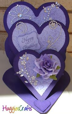 HuggiesCrafts: Triple Heart Easel Card
