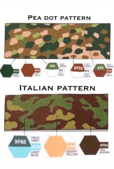 German pea dot pattern and Italian pattern camouflage worn by German army in ww2