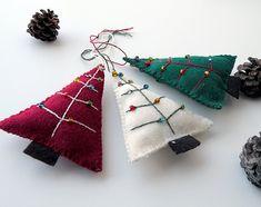 Three (3) eco felt Christmas tree ornaments