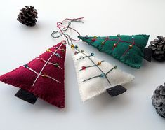 Three (3) eco felt Christmas tree ornaments