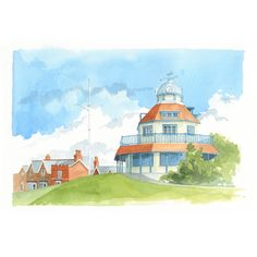 The Mount View 1 - a high quality print reproduction of an original watercolour painting from the Seaside Emporium