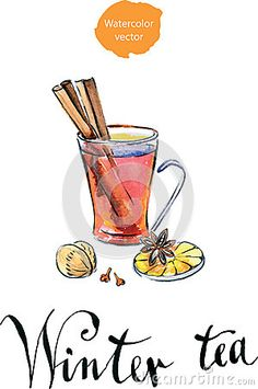 Glass Of Hot Winter Tea With Orange, Cinnamon, Anise, Clove And Stock Vector - Illustration of december, illustration: 60573237 Art Sketchbook, Sketchbooks, Cinnamon, How To Draw Hands, December, Tea, Orange, Tableware, Winter