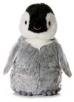 """12"""" Aurora Plush Penguin """"Penny"""" Gray White Flopsie Stuffed Animal Toy NEW"""