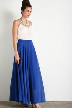 This maxi skirt is all you could have asked for and more! With flowy layers, a flattering silohuette and gorgeous cobalt blue color, this skirt is bright essential for your wardrobe. Just take a momen Flowy Bridesmaid Dresses, Prom Dresses Two Piece, Prom Dresses Blue, Cute Maxi Skirts, Maxi Skirt Outfits, Long Skirts, Skirt Fashion, Fashion Dresses, Women's Fashion